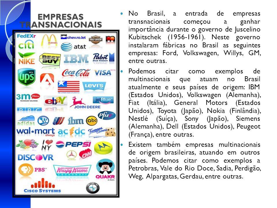 EMPRESAS TRANSNACIONAIS No Brasil, a entrada de empresas transnacionais começou a ganhar importância durante o governo de Juscelino Kubitschek (1956-1