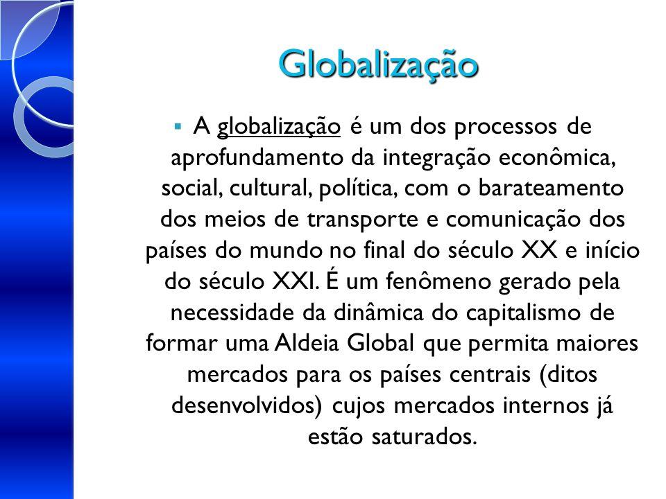 Globalização globalização A globalização é um dos processos de aprofundamento da integração econômica, social, cultural, política, com o barateamento