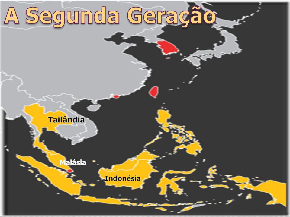 No início da década de 1990, outros países da Ásia, como Tailândia, Malásia e Indonésia passaram a seguir o mesmo modelo de crescimento dos tigres, ou seja, deram isenção de impostos para atrair investimentos externos, empregaram mão de obra barata e produziram para exportar.