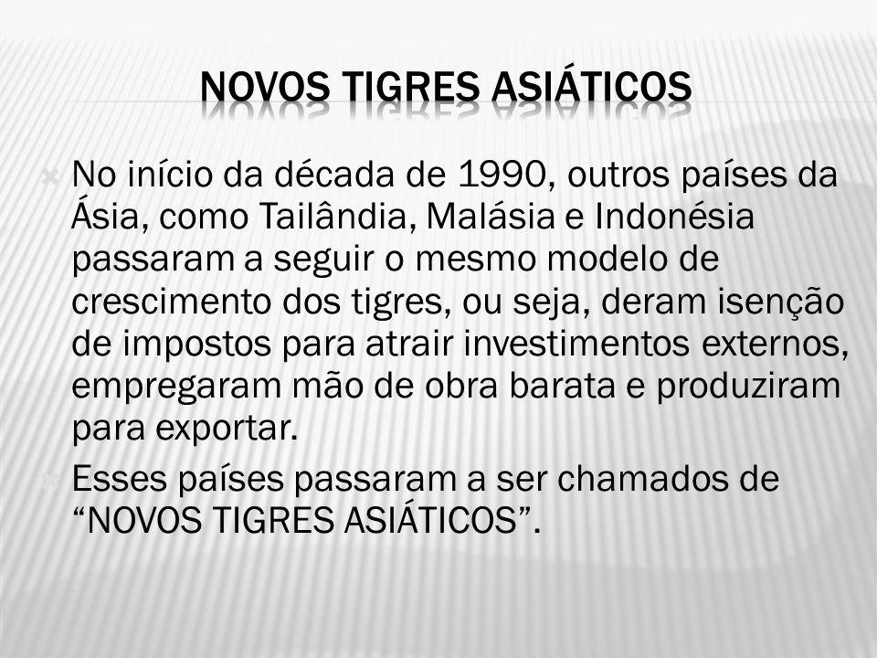 No início da década de 1990, outros países da Ásia, como Tailândia, Malásia e Indonésia passaram a seguir o mesmo modelo de crescimento dos tigres, ou