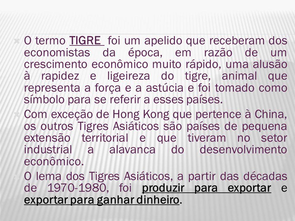 O termo TIGRE foi um apelido que receberam dos economistas da época, em razão de um crescimento econômico muito rápido, uma alusão à rapidez e ligeire