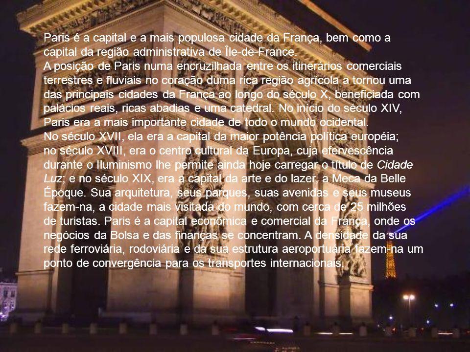 Paris é a capital e a mais populosa cidade da França, bem como a capital da região administrativa de Île-de-France. A posição de Paris numa encruzilha