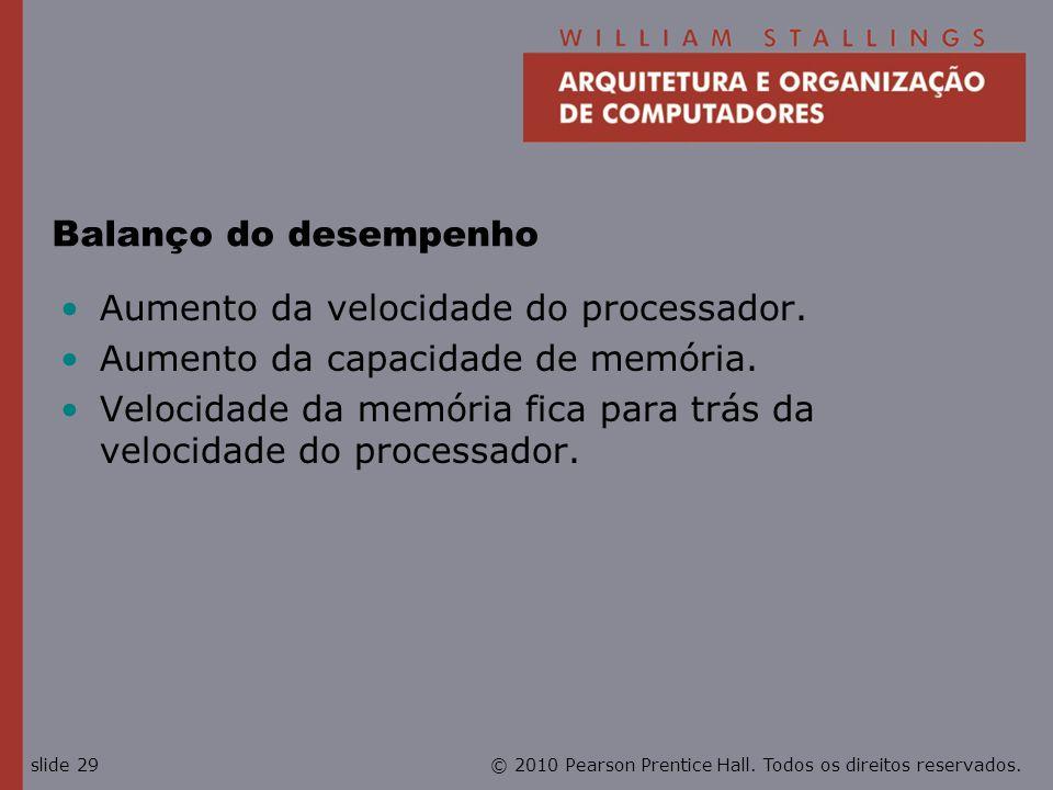 © 2010 Pearson Prentice Hall. Todos os direitos reservados.slide 29 Balanço do desempenho Aumento da velocidade do processador. Aumento da capacidade