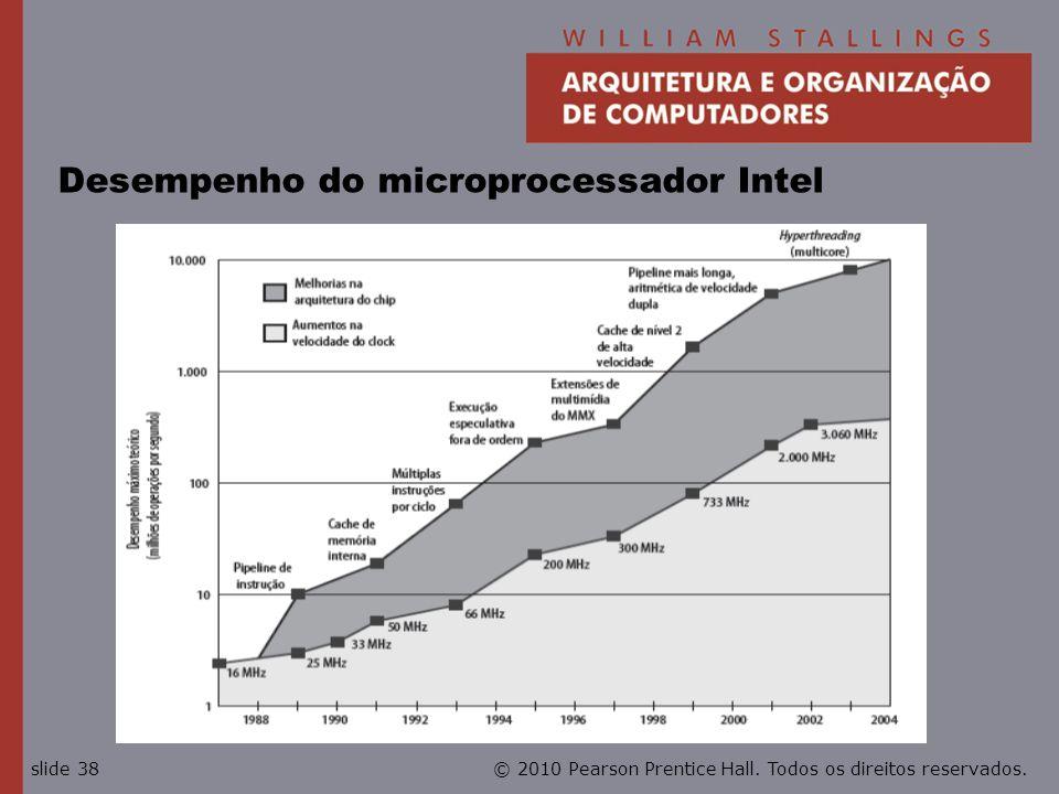© 2010 Pearson Prentice Hall. Todos os direitos reservados.slide 38 Desempenho do microprocessador Intel