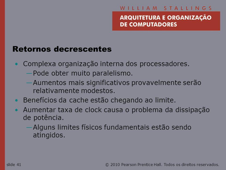 © 2010 Pearson Prentice Hall. Todos os direitos reservados.slide 41 Retornos decrescentes Complexa organização interna dos processadores. Pode obter m