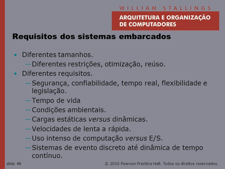 © 2010 Pearson Prentice Hall. Todos os direitos reservados.slide 48 Requisitos dos sistemas embarcados Diferentes tamanhos. Diferentes restrições, oti