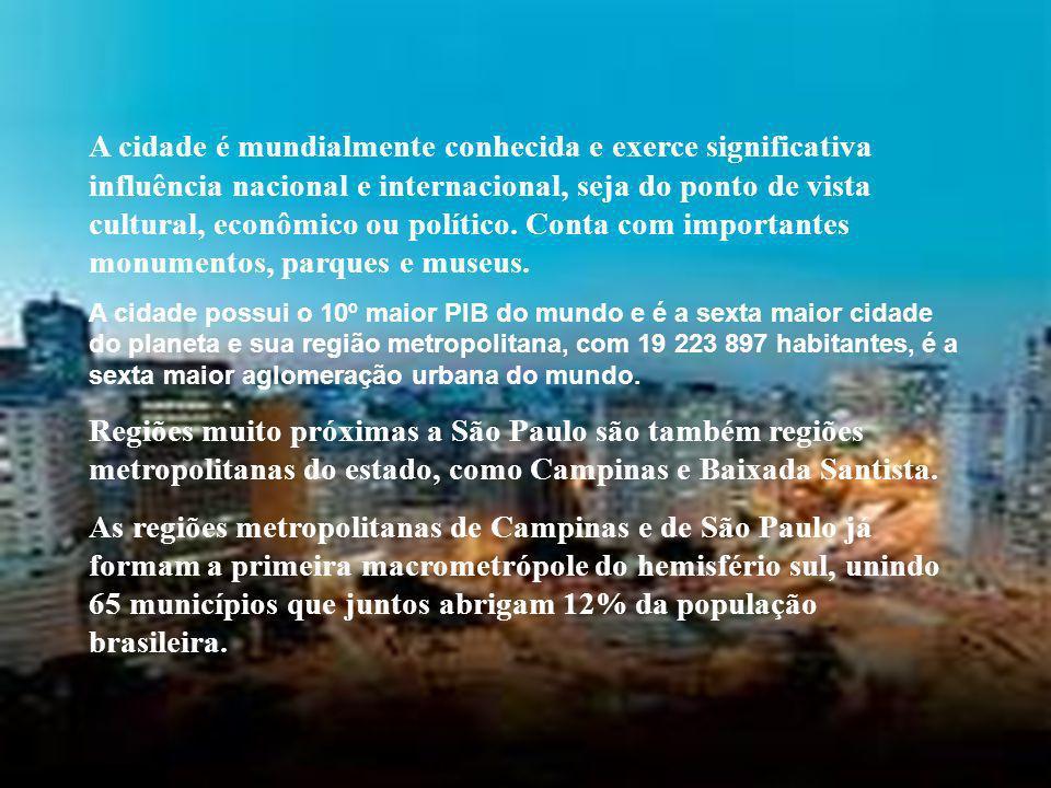 A cidade é mundialmente conhecida e exerce significativa influência nacional e internacional, seja do ponto de vista cultural, econômico ou político.
