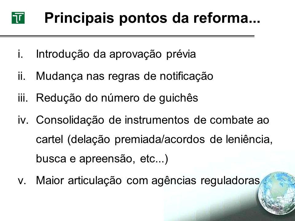 Principais pontos da reforma... i.Introdução da aprovação prévia ii.Mudança nas regras de notificação iii.Redução do número de guichês iv.Consolidação