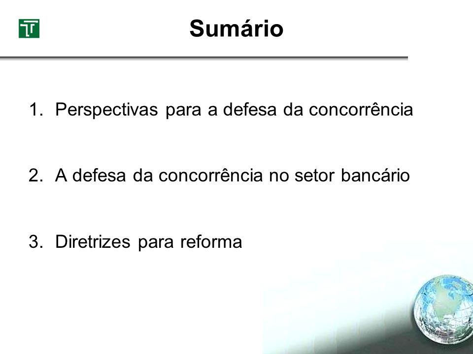 1.Perspectivas para a defesa da concorrência 2.A defesa da concorrência no setor bancário 3.Diretrizes para reforma Sumário