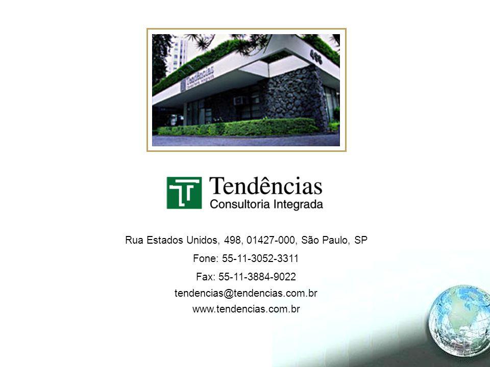 Rua Estados Unidos, 498, 01427-000, São Paulo, SP Fone: 55-11-3052-3311 Fax: 55-11-3884-9022 tendencias@tendencias.com.br www.tendencias.com.br