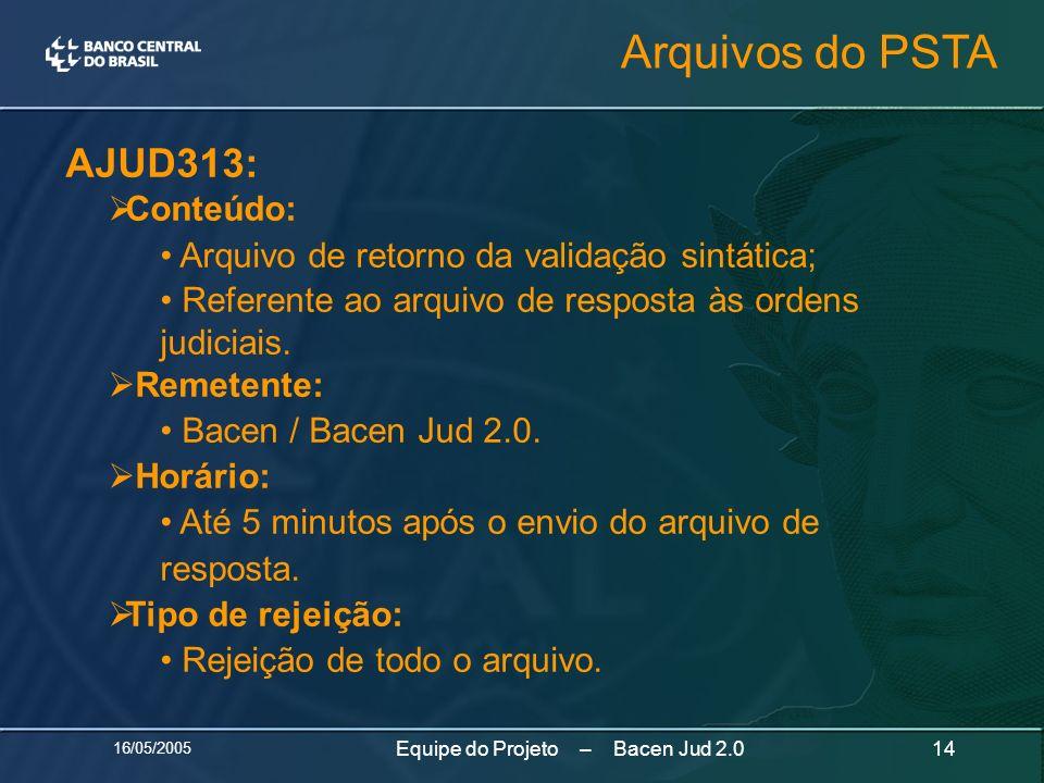 16/05/2005 14Equipe do Projeto – Bacen Jud 2.0 AJUD313: Conteúdo: Arquivo de retorno da validação sintática; Referente ao arquivo de resposta às orden
