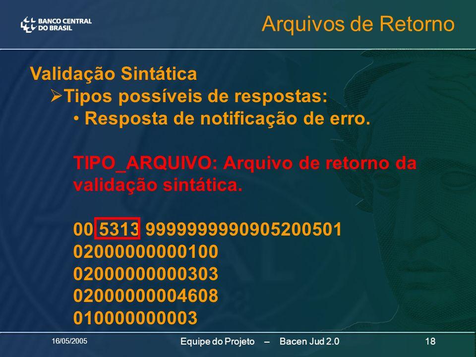 16/05/2005 18Equipe do Projeto – Bacen Jud 2.0 Validação Sintática Tipos possíveis de respostas: Resposta de notificação de erro. TIPO_ARQUIVO: Arquiv
