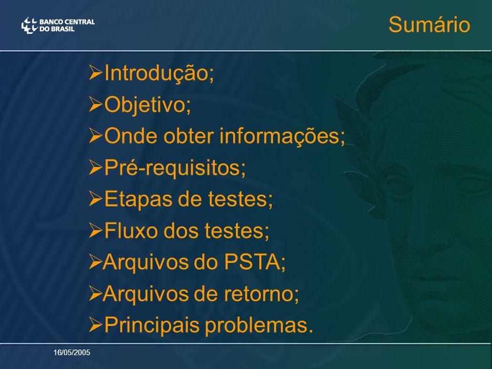 16/05/2005 Sumário Introdução; Objetivo; Onde obter informações; Pré-requisitos; Etapas de testes; Fluxo dos testes; Arquivos do PSTA; Arquivos de ret