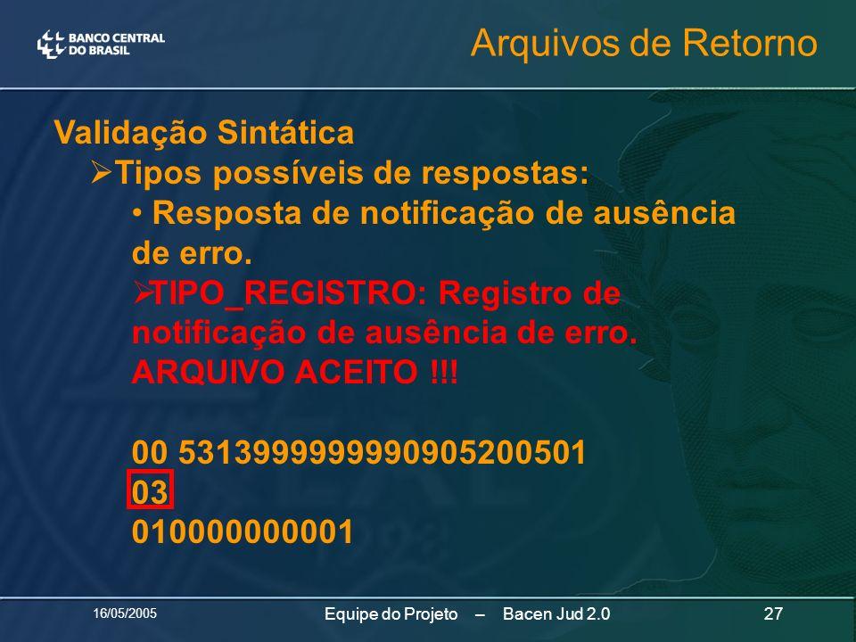 16/05/2005 27Equipe do Projeto – Bacen Jud 2.0 Validação Sintática Tipos possíveis de respostas: Resposta de notificação de ausência de erro. TIPO_REG