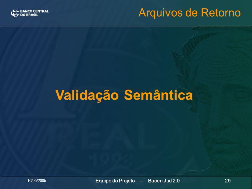 16/05/2005 29Equipe do Projeto – Bacen Jud 2.0 Validação Semântica Arquivos de Retorno