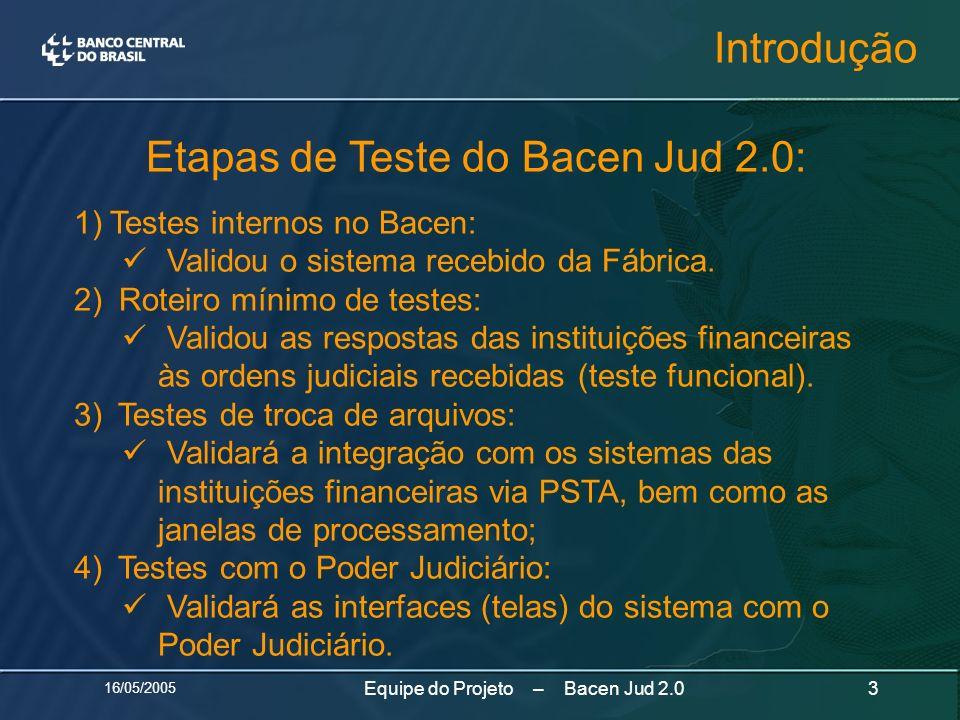 16/05/2005 3Equipe do Projeto – Bacen Jud 2.0 Etapas de Teste do Bacen Jud 2.0: 1)Testes internos no Bacen: Validou o sistema recebido da Fábrica. 2)