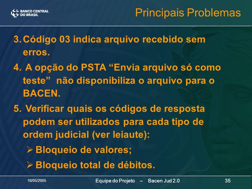 16/05/2005 35Equipe do Projeto – Bacen Jud 2.0 3.Código 03 indica arquivo recebido sem erros. 4. A opção do PSTA Envia arquivo só como teste não dispo