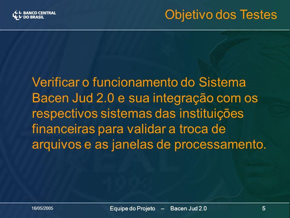 16/05/2005 5Equipe do Projeto – Bacen Jud 2.0 Verificar o funcionamento do Sistema Bacen Jud 2.0 e sua integração com os respectivos sistemas das inst