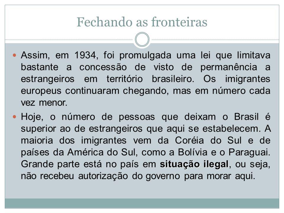 Fechando as fronteiras Assim, em 1934, foi promulgada uma lei que limitava bastante a concessão de visto de permanência a estrangeiros em território b