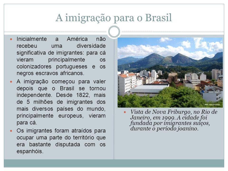A imigração para o Brasil Inicialmente a América não recebeu uma diversidade significativa de imigrantes: para cá vieram principalmente os colonizador