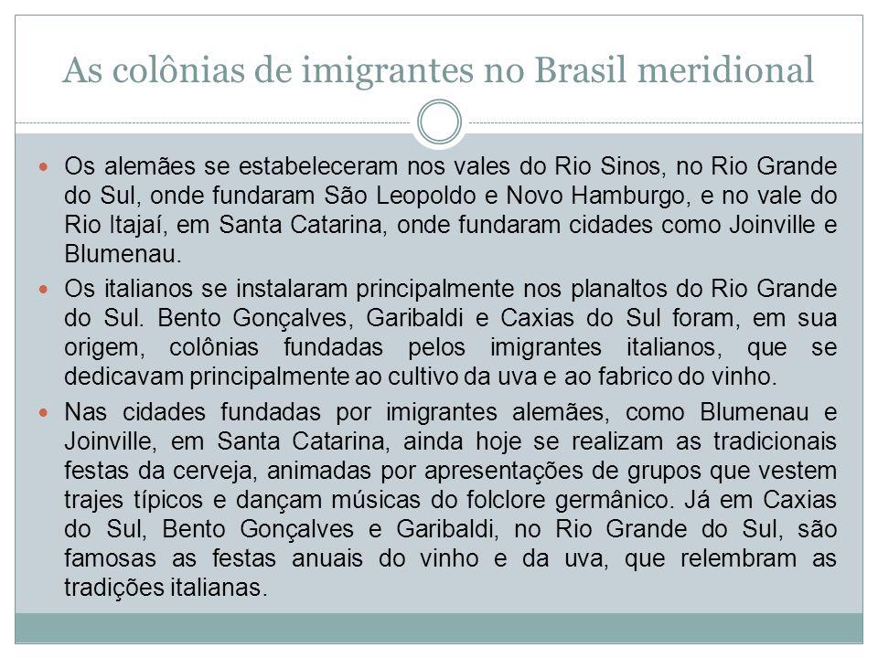 As colônias de imigrantes no Brasil meridional Os alemães se estabeleceram nos vales do Rio Sinos, no Rio Grande do Sul, onde fundaram São Leopoldo e