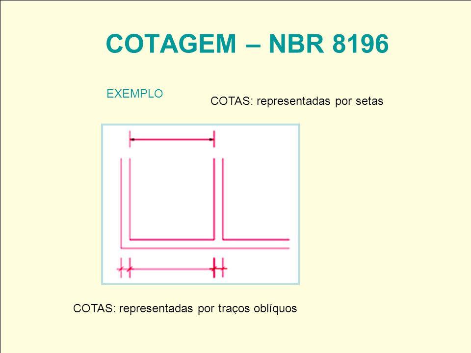 COTAGEM – NBR 8196 EXEMPLO COTAS: representadas por setas COTAS: representadas por traços oblíquos