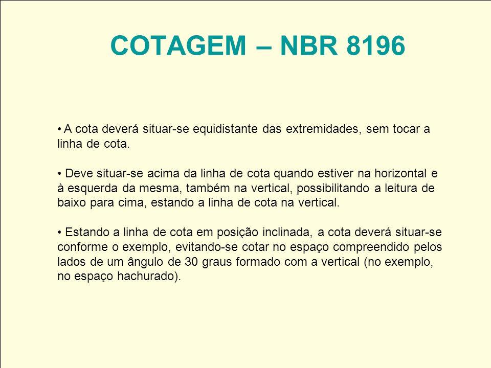 COTAGEM – NBR 8196 A cota deverá situar-se equidistante das extremidades, sem tocar a linha de cota. Deve situar-se acima da linha de cota quando esti