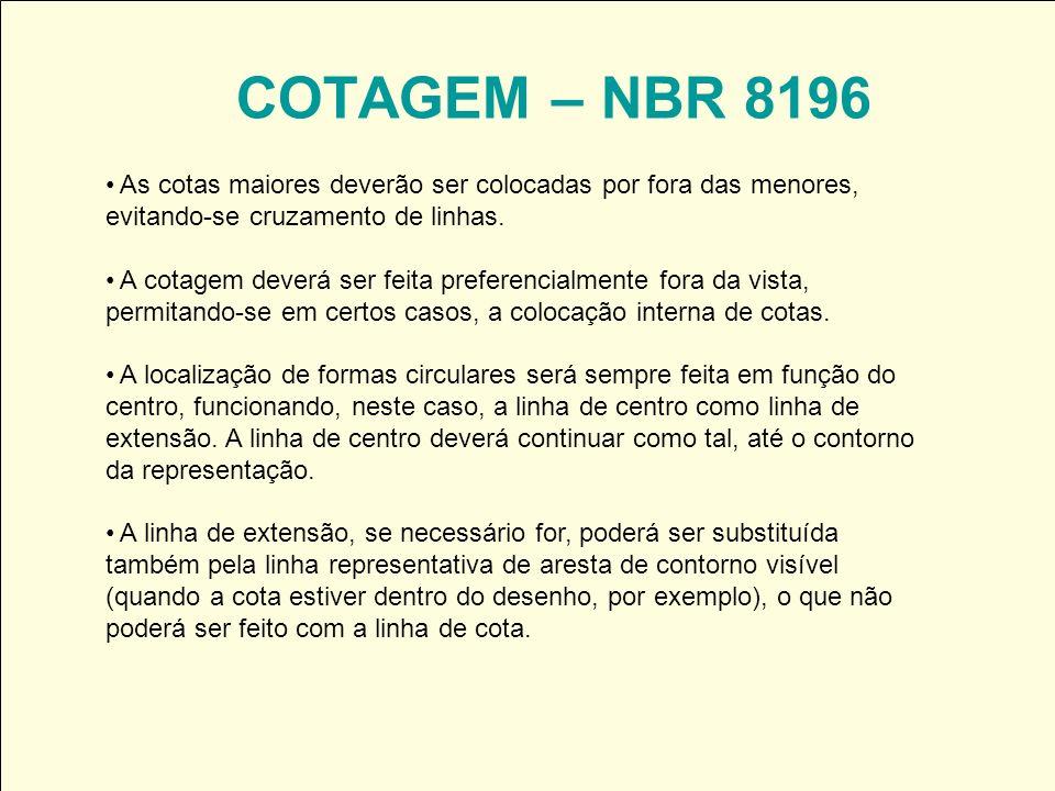 COTAGEM – NBR 8196 As cotas maiores deverão ser colocadas por fora das menores, evitando-se cruzamento de linhas. A cotagem deverá ser feita preferenc