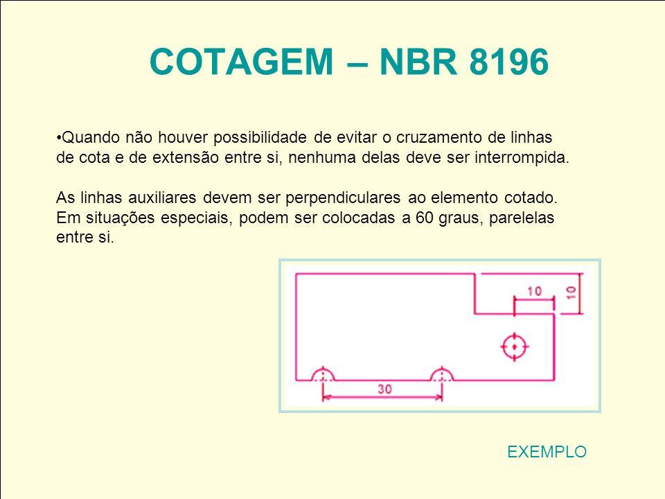 COTAGEM – NBR 8196 EXEMPLO Quando não houver possibilidade de evitar o cruzamento de linhas de cota e de extensão entre si, nenhuma delas deve ser int