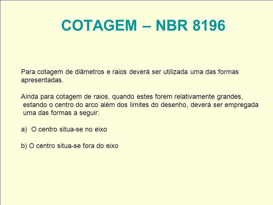 COTAGEM – NBR 8196 Para cotagem de diâmetros e raios deverá ser utilizada uma das formas apresentadas. Ainda para cotagem de raios, quando estes forem