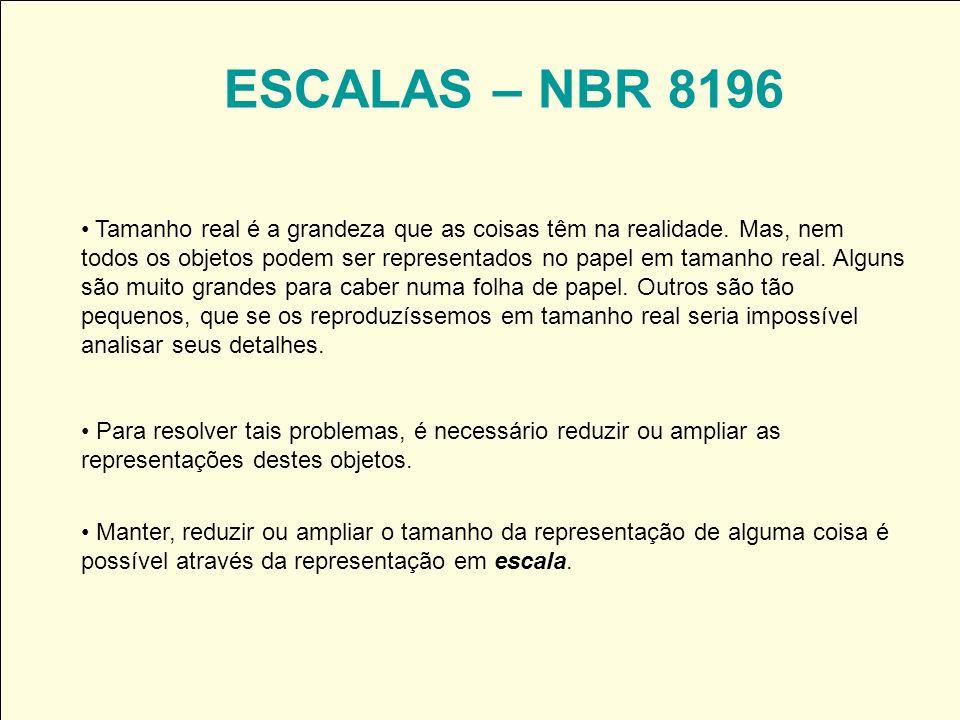 ESCALAS – NBR 8196 Tamanho real é a grandeza que as coisas têm na realidade. Mas, nem todos os objetos podem ser representados no papel em tamanho rea