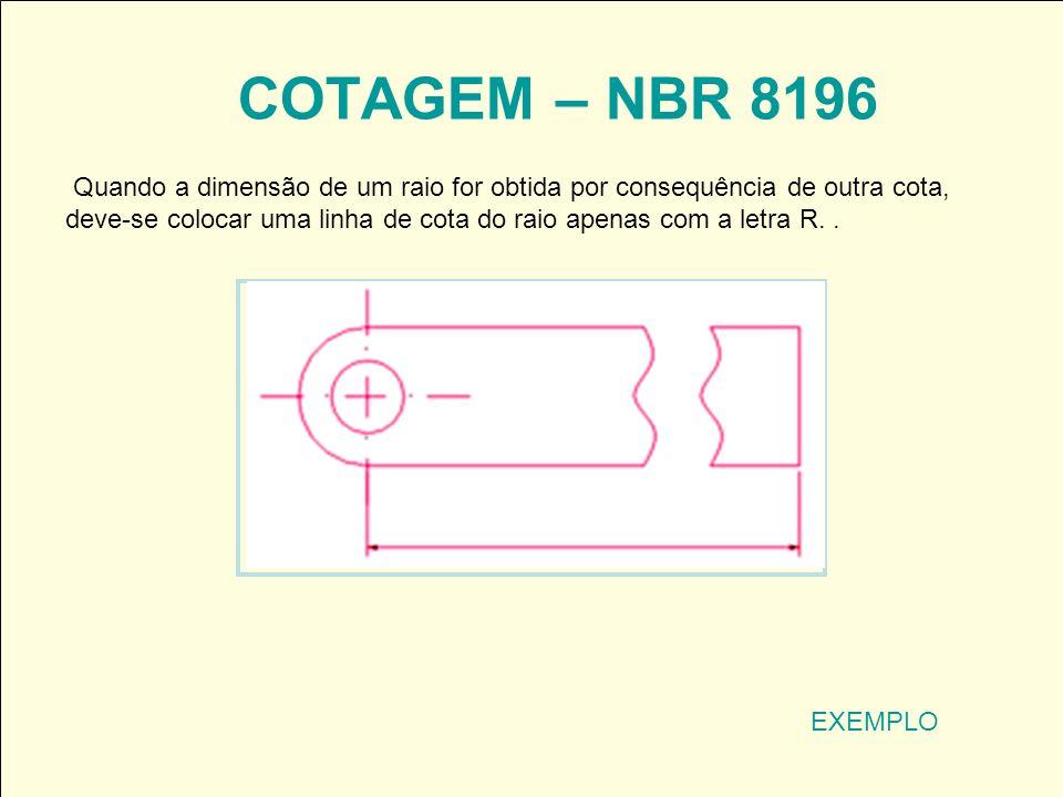 COTAGEM – NBR 8196 EXEMPLO Quando a dimensão de um raio for obtida por consequência de outra cota, deve-se colocar uma linha de cota do raio apenas co