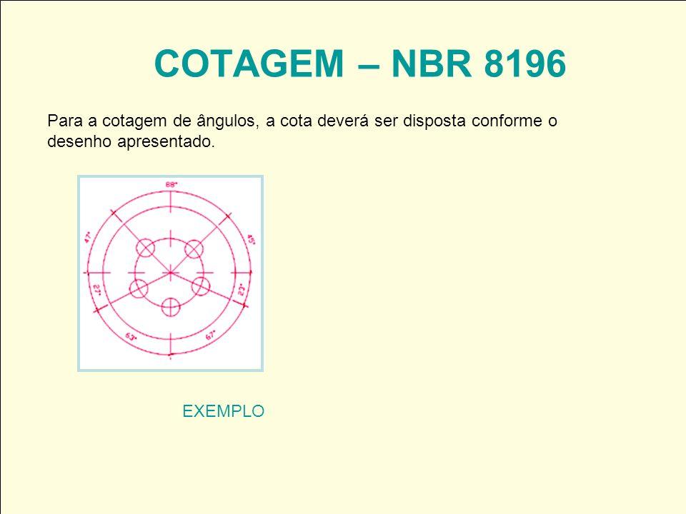 COTAGEM – NBR 8196 EXEMPLO Para a cotagem de ângulos, a cota deverá ser disposta conforme o desenho apresentado.