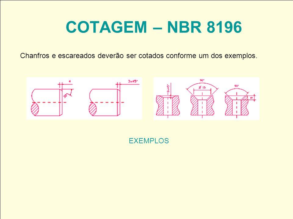 COTAGEM – NBR 8196 EXEMPLOS Chanfros e escareados deverão ser cotados conforme um dos exemplos.