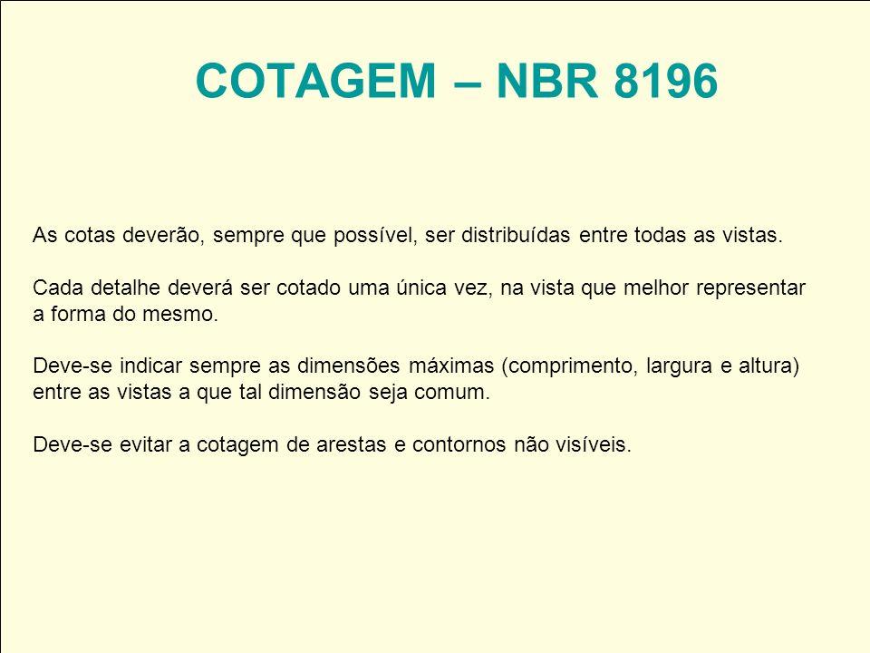 COTAGEM – NBR 8196 As cotas deverão, sempre que possível, ser distribuídas entre todas as vistas. Cada detalhe deverá ser cotado uma única vez, na vis