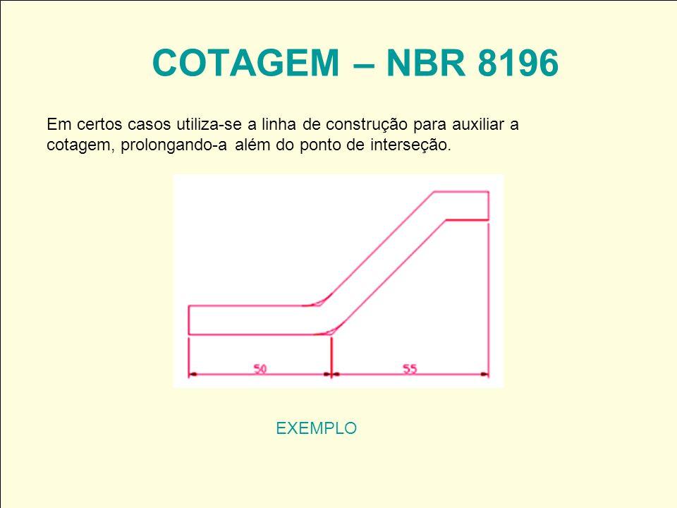 COTAGEM – NBR 8196 EXEMPLO Em certos casos utiliza-se a linha de construção para auxiliar a cotagem, prolongando-a além do ponto de interseção.