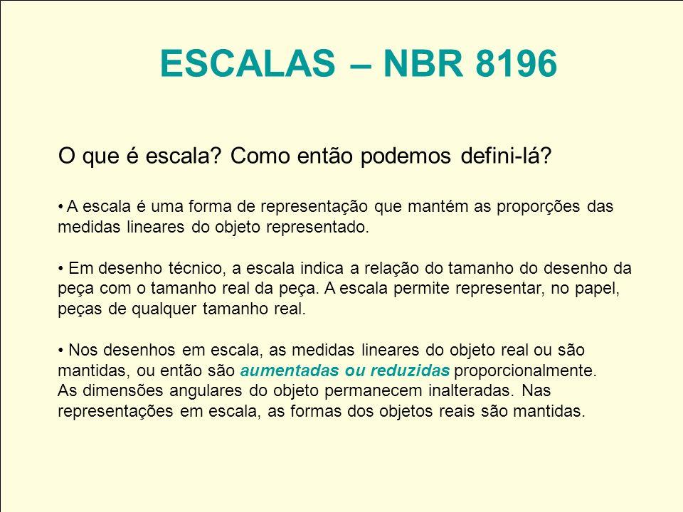 ESCALAS – NBR 8196 O que é escala? Como então podemos defini-lá? A escala é uma forma de representação que mantém as proporções das medidas lineares d