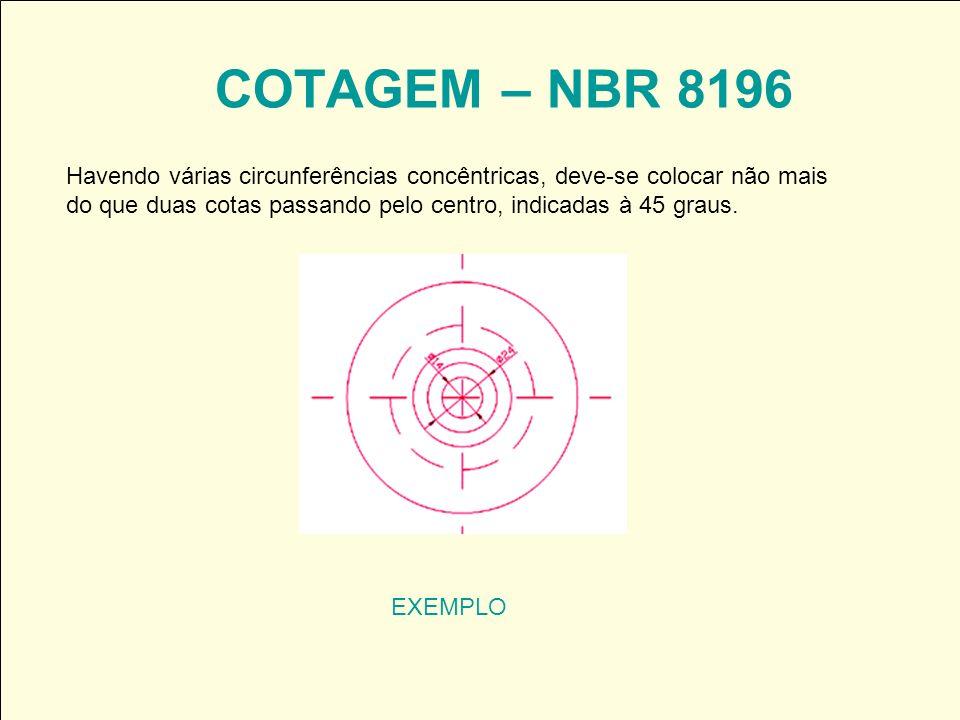 COTAGEM – NBR 8196 EXEMPLO Havendo várias circunferências concêntricas, deve-se colocar não mais do que duas cotas passando pelo centro, indicadas à 4