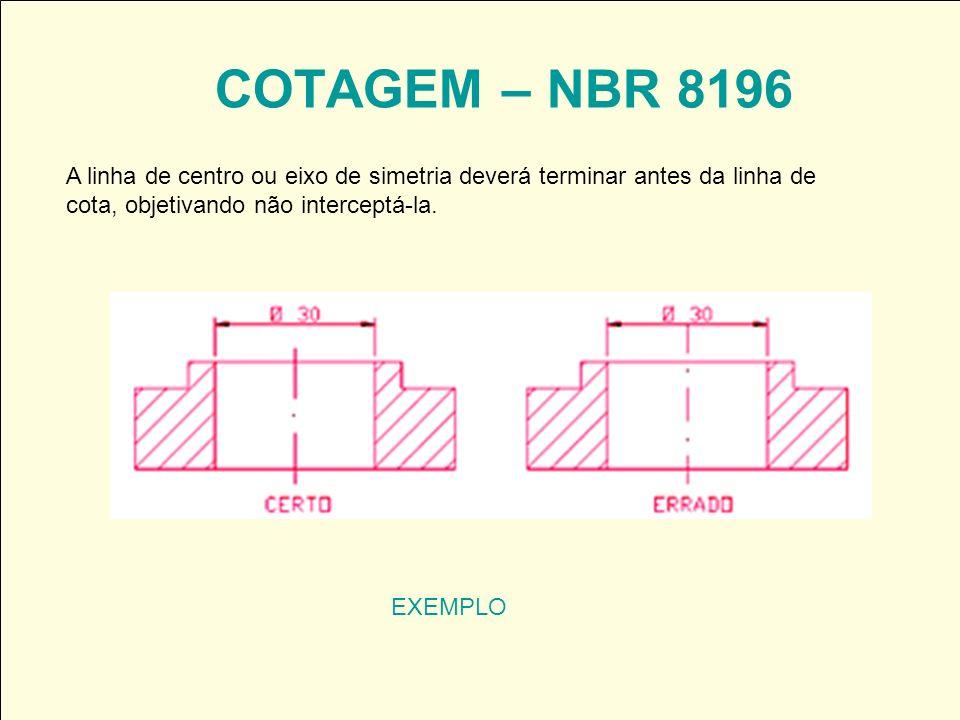 COTAGEM – NBR 8196 EXEMPLO A linha de centro ou eixo de simetria deverá terminar antes da linha de cota, objetivando não interceptá-la.