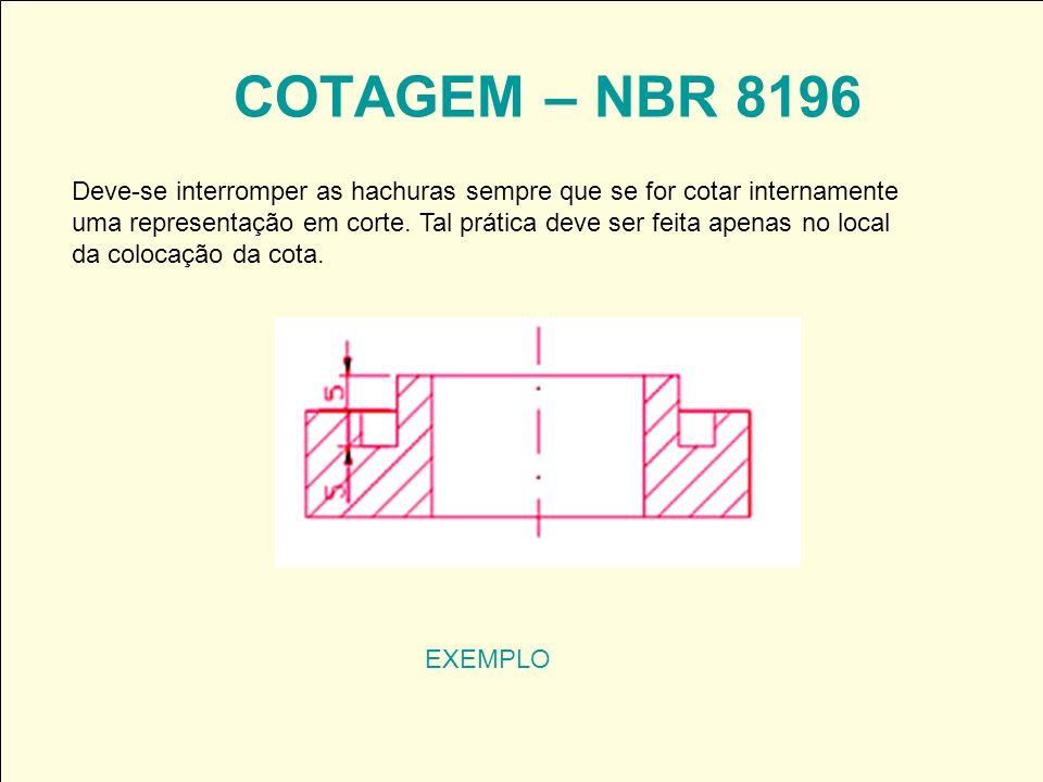 COTAGEM – NBR 8196 EXEMPLO Deve-se interromper as hachuras sempre que se for cotar internamente uma representação em corte. Tal prática deve ser feita