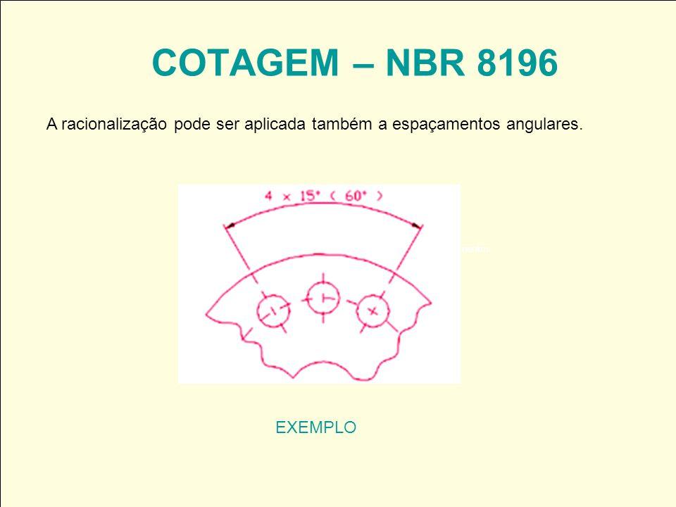 COTAGEM – NBR 8196 EXEMPLO A racionalização pode ser aplicada também a espaçamentos angulares.