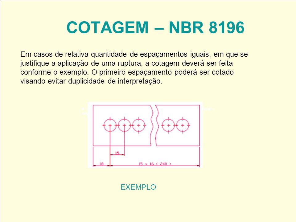 COTAGEM – NBR 8196 EXEMPLO Em casos de relativa quantidade de espaçamentos iguais, em que se justifique a aplicação de uma ruptura, a cotagem deverá s