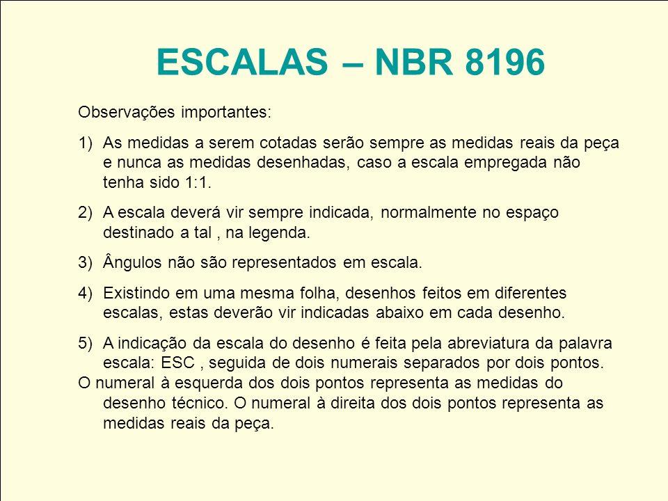 ESCALAS – NBR 8196 Observações importantes: 1)As medidas a serem cotadas serão sempre as medidas reais da peça e nunca as medidas desenhadas, caso a e