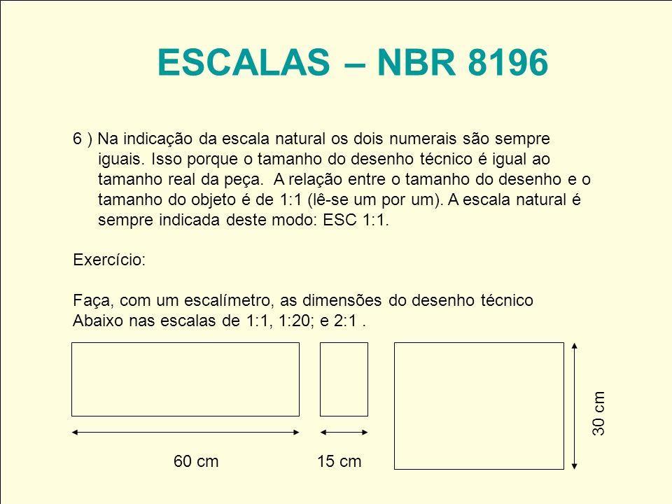 ESCALAS – NBR 8196 6 ) Na indicação da escala natural os dois numerais são sempre iguais. Isso porque o tamanho do desenho técnico é igual ao tamanho