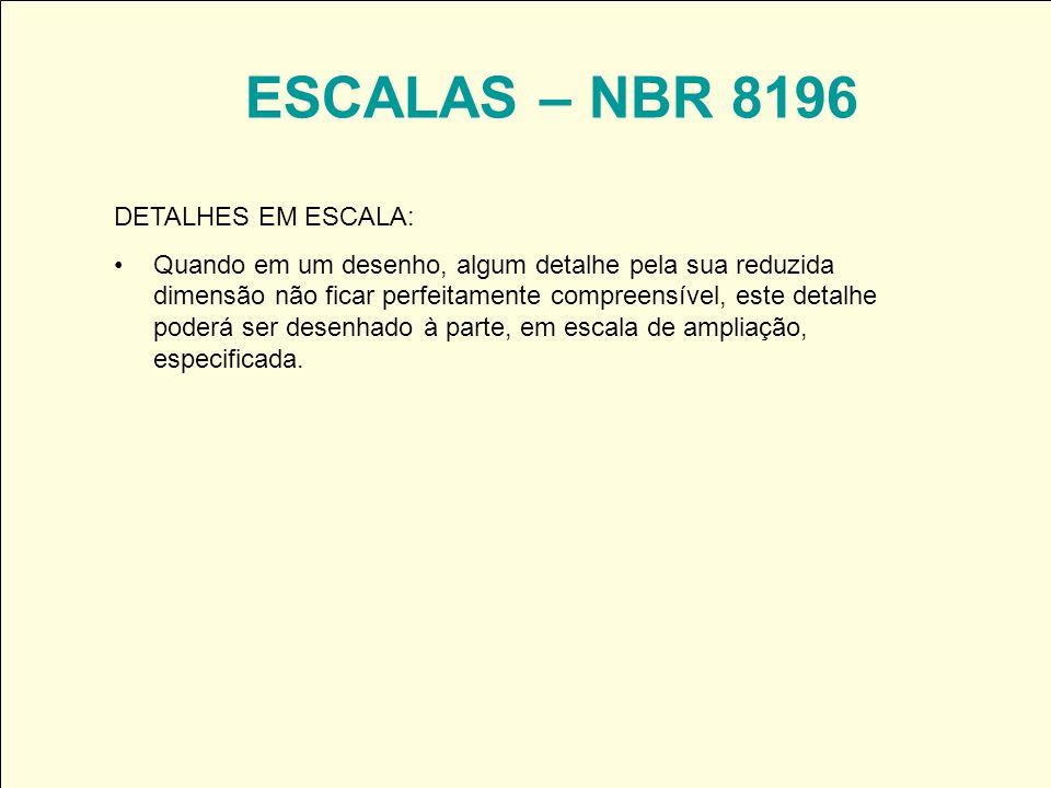 ESCALAS – NBR 8196 DETALHES EM ESCALA: Quando em um desenho, algum detalhe pela sua reduzida dimensão não ficar perfeitamente compreensível, este deta