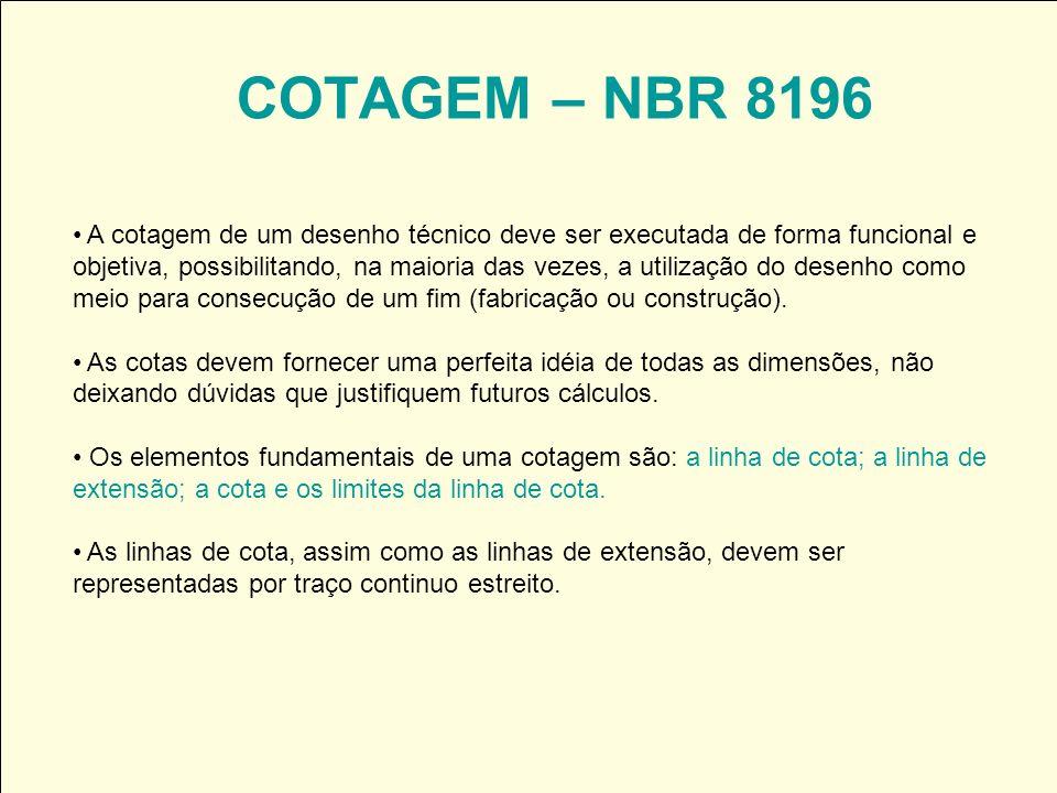 COTAGEM – NBR 8196 A cotagem de um desenho técnico deve ser executada de forma funcional e objetiva, possibilitando, na maioria das vezes, a utilizaçã