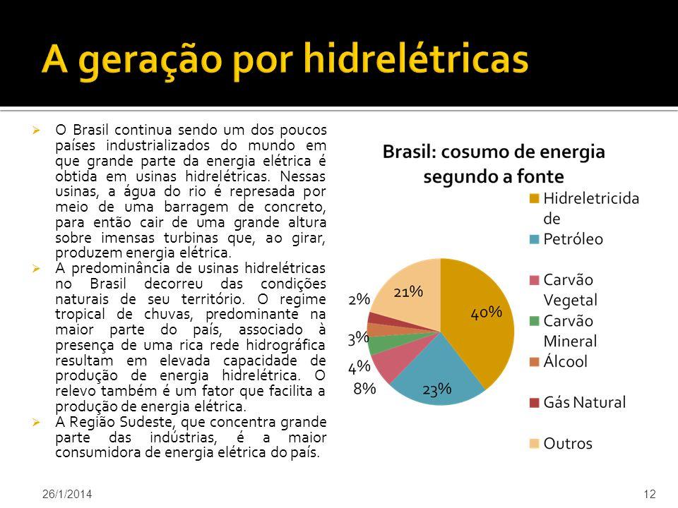O Brasil continua sendo um dos poucos países industrializados do mundo em que grande parte da energia elétrica é obtida em usinas hidrelétricas.