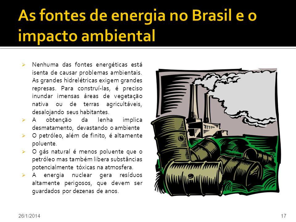 Nenhuma das fontes energéticas está isenta de causar problemas ambientais.