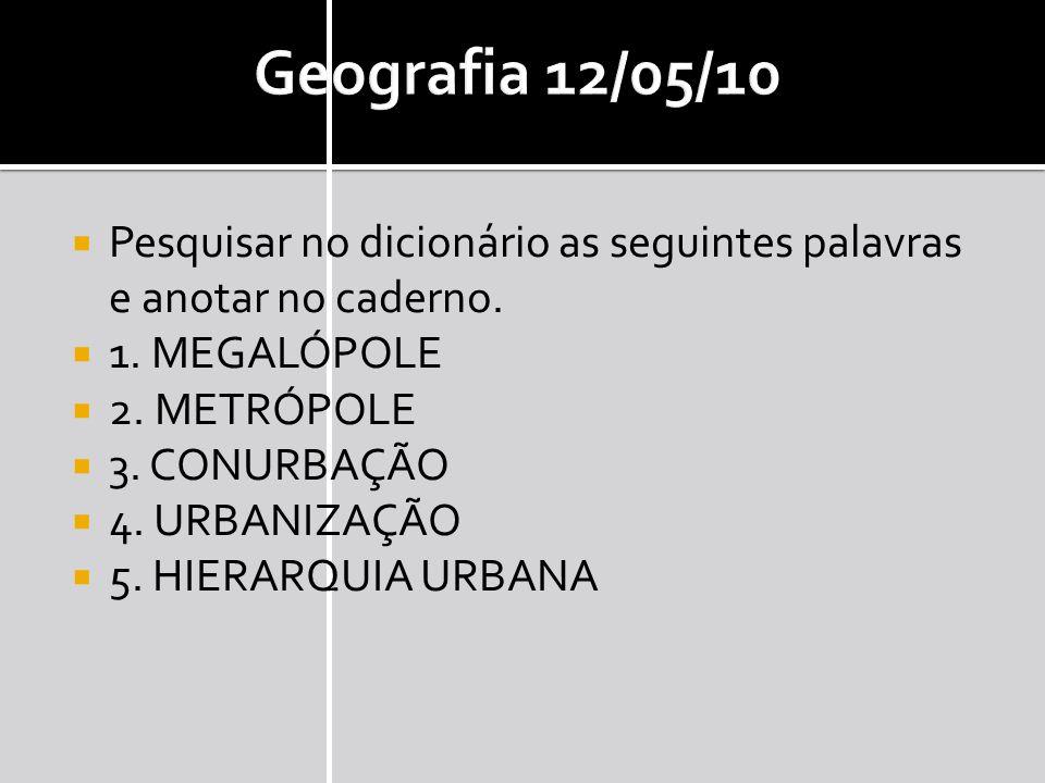 Geografia 12/05/10 Pesquisar no dicionário as seguintes palavras e anotar no caderno.