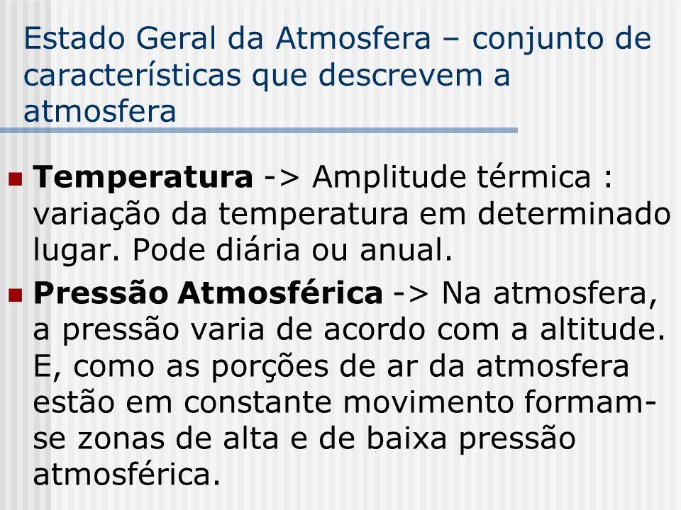 Estado Geral da Atmosfera – conjunto de características que descrevem a atmosfera Temperatura -> Amplitude térmica : variação da temperatura em determ